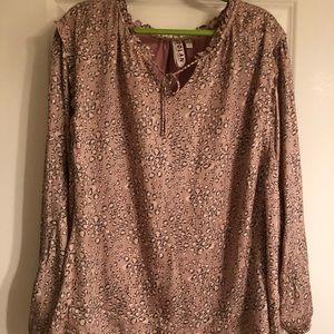 NWT Dolan for Anthro blush animal print blouse 3X